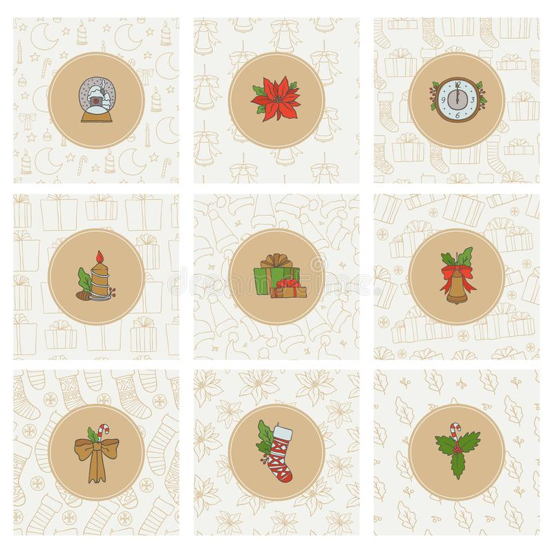 圣诞节和新年金象和无缝的样式 与礼物袜子的传染媒介集合圆的贴纸假日背景 向量例证