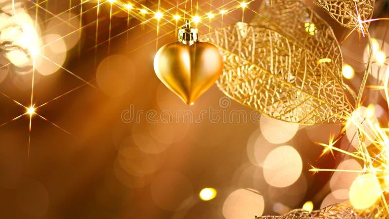 圣诞节和新年金黄装饰 抽象节假日背景 库存图片