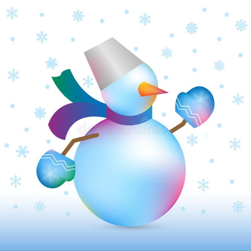 圣诞节和新年雪人 库存例证