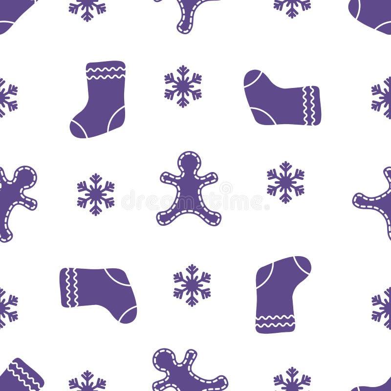 圣诞节和新年2019无缝的样式 皇族释放例证