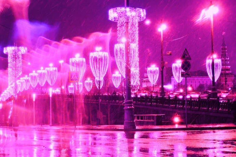 圣诞节和新年2018装饰在莫斯科市中心 库存照片