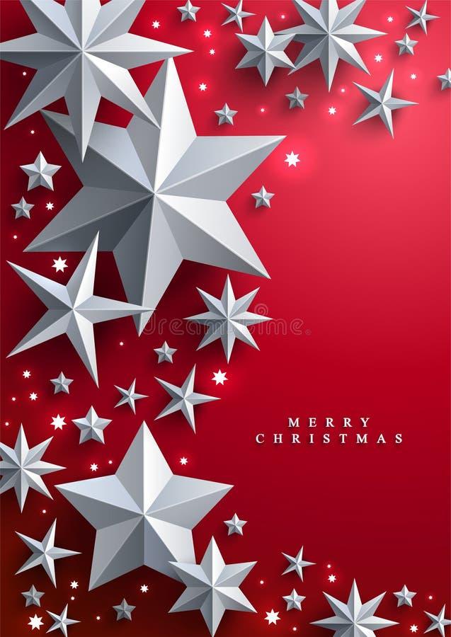 圣诞节和新年与框架的红色背景由星制成 皇族释放例证