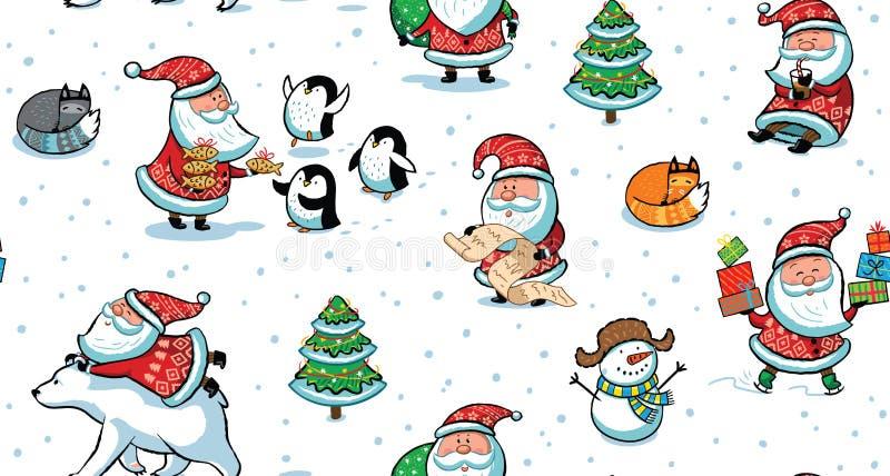 圣诞节和新年与滑稽的圣诞老人的假日样式 库存例证
