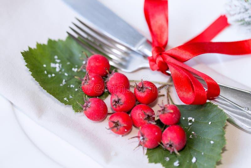 圣诞节和新年假日表设置 庆祝 圣诞晚餐的餐位餐具 被点燃的背景电灯泡色的装饰诗歌选节假日光 装饰 库存图片