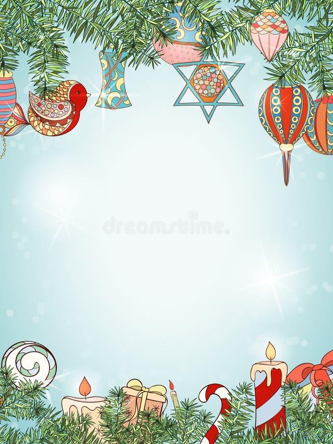 圣诞节和新年冷杉邀请卡片 向量例证