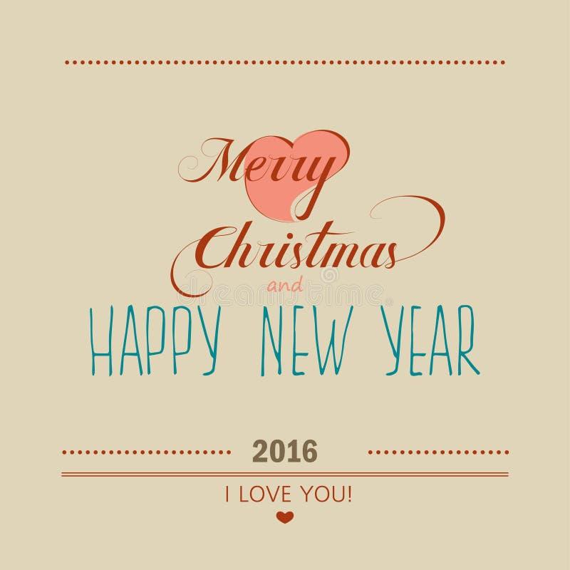 圣诞节和新年贺卡2016年 字法 皇族释放例证