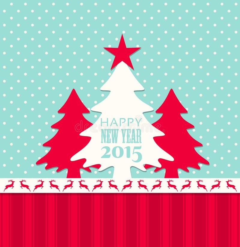 圣诞节和新年2015年贺卡 向量例证