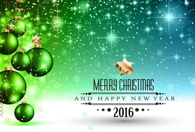 2016年圣诞节和新年快乐党飞行物 库存例证