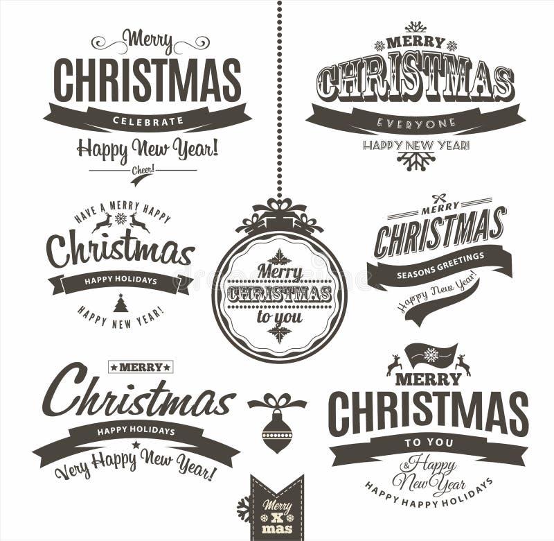 圣诞节和新年快乐字法 库存图片
