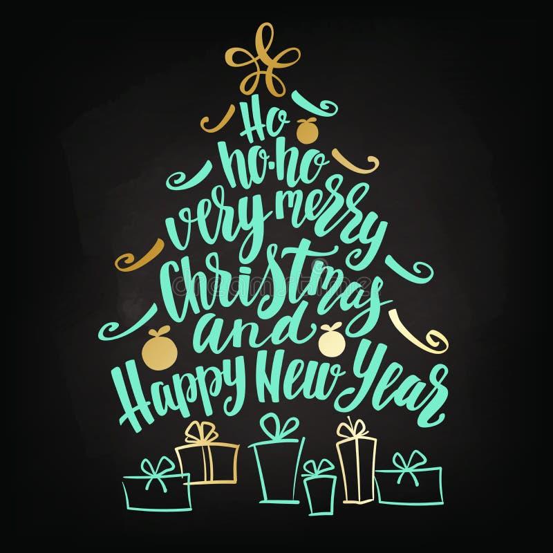 圣诞节和新年快乐树措辞云彩,假日手字法拼贴画 库存例证