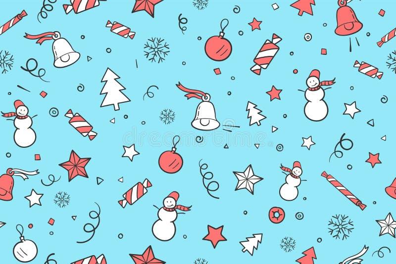 圣诞节和新年快乐题材的无缝的样式 库存例证