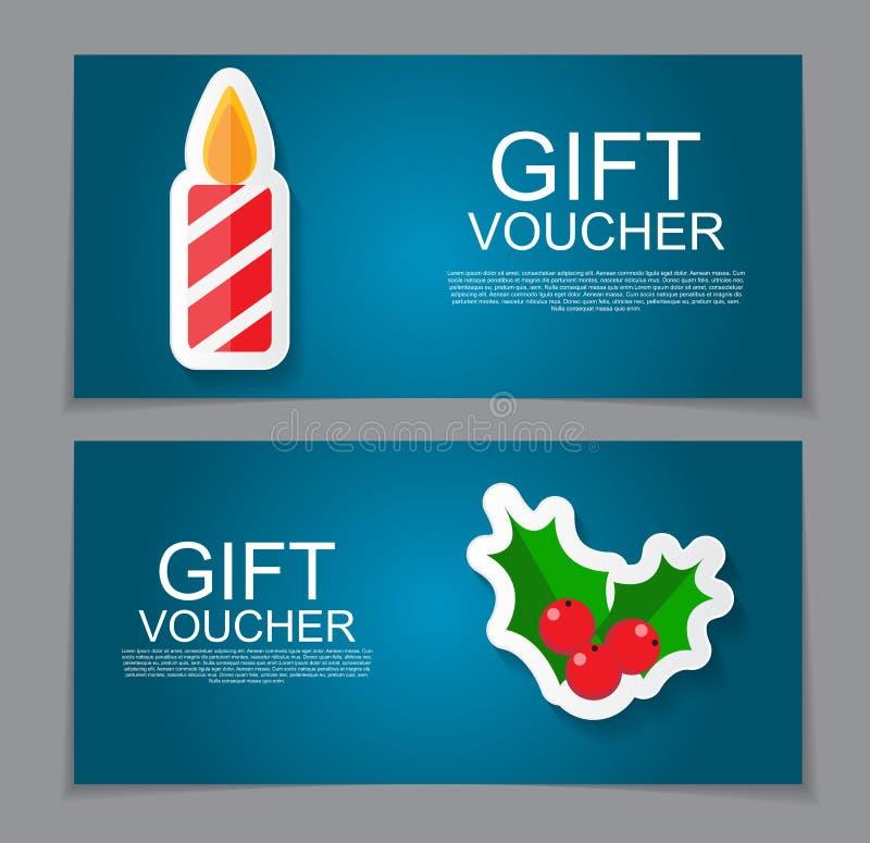 圣诞节和新年折扣优惠券的礼券模板 库存例证