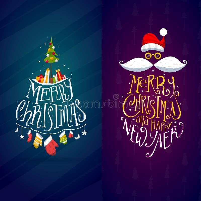 圣诞节和新年标签 皇族释放例证