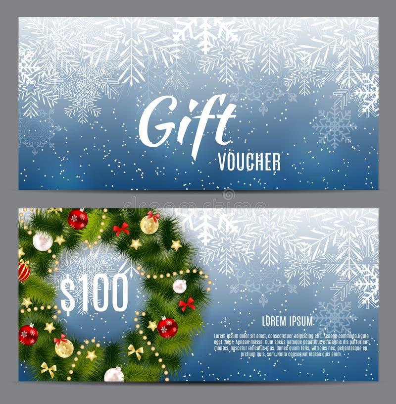 圣诞节和新年礼券,折扣优惠券模板Ve 向量例证