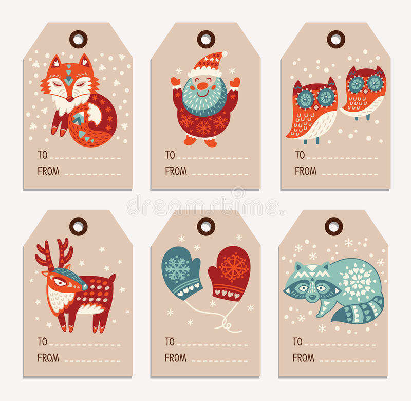 圣诞节和新年礼物标记,贴纸,标签 库存例证