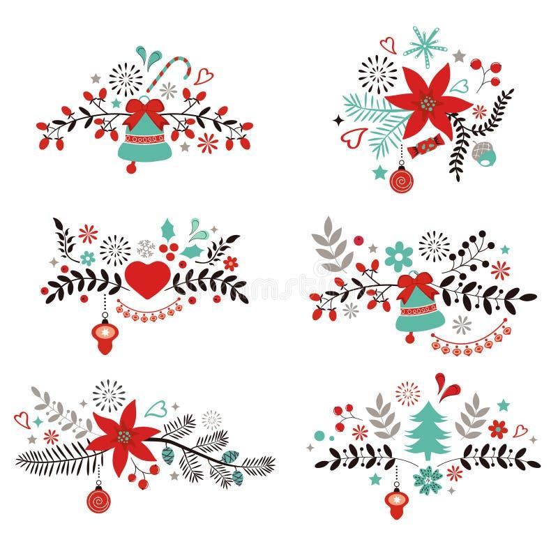 圣诞节和新年装饰元素 向量例证