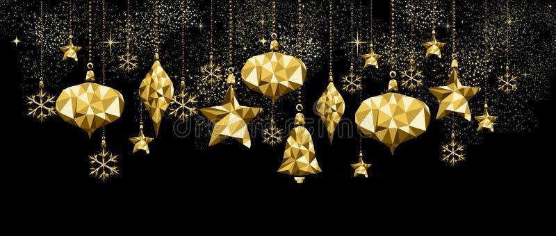 圣诞节和新年金装饰品装饰 库存例证