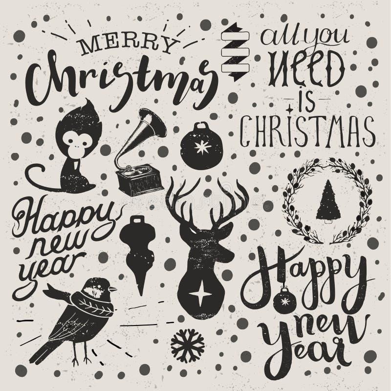 圣诞节和新年集合 库存例证