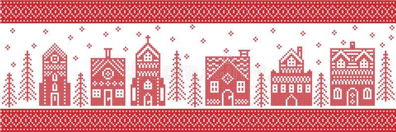 圣诞节和欢乐冬天妙境村庄样式在发怒针样式与华而不实的屋,教会一点镇大厦 库存例证