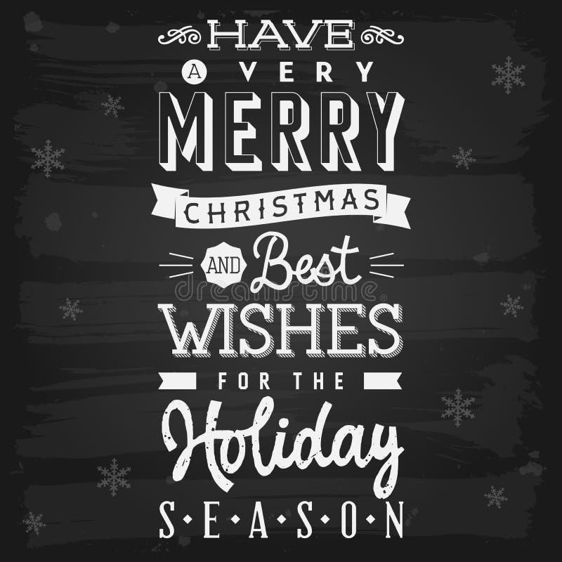 圣诞节和节日问候黑板 库存例证
