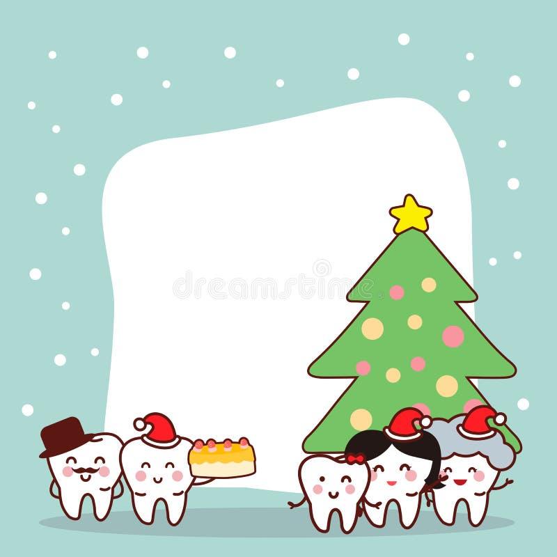 圣诞节和雪与牙 向量例证