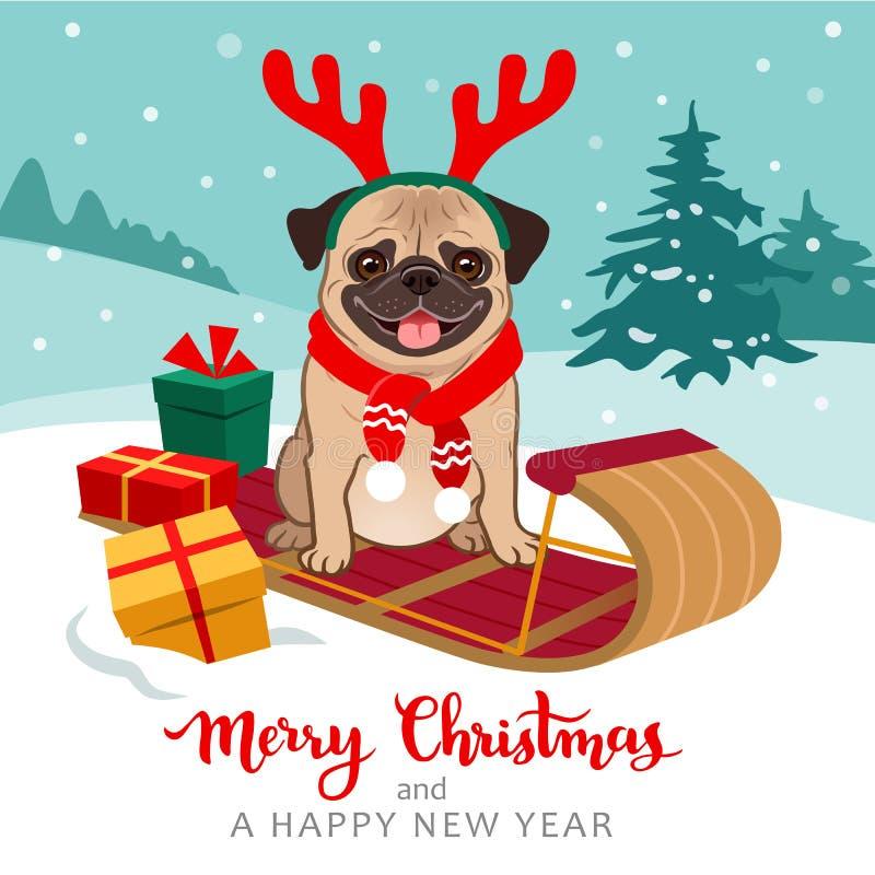 圣诞节哈巴狗狗动画片例证 佩带r的逗人喜爱的哈巴狗小狗 库存例证
