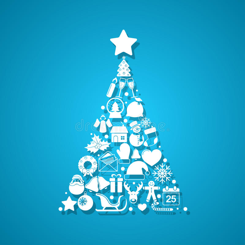 圣诞节图标做结构树 库存例证