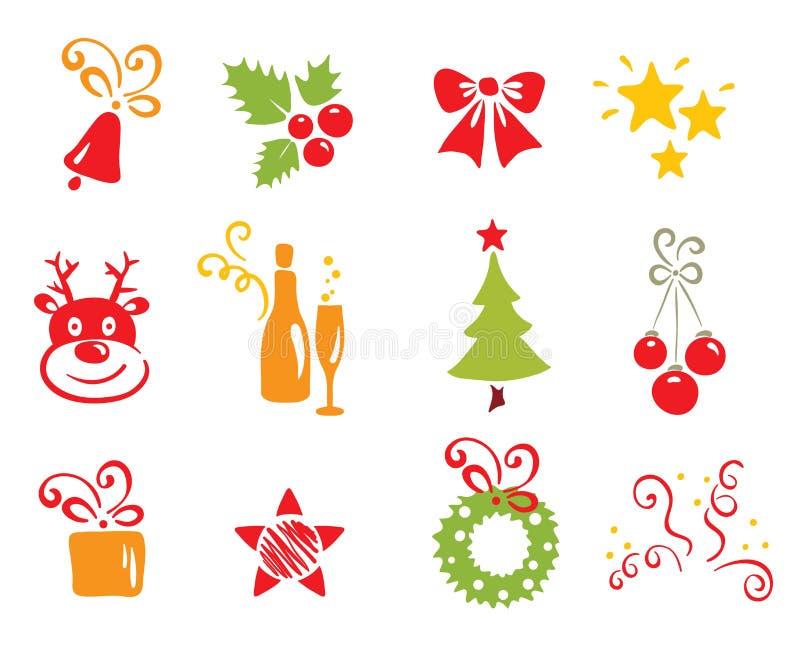 圣诞节图标新年度 向量例证