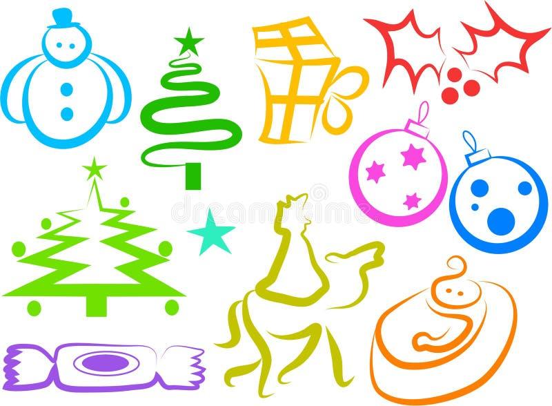 圣诞节图标 皇族释放例证