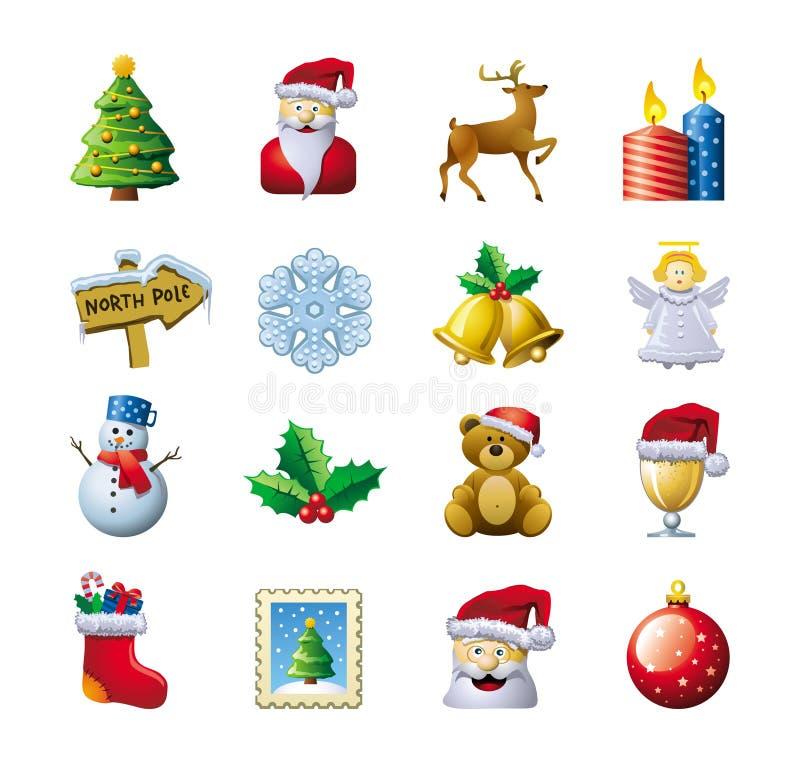 圣诞节图标 库存例证