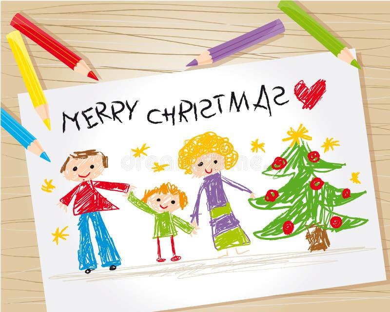 圣诞节图画孩子 库存例证