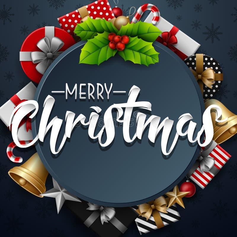 圣诞节圆的框架用霍莉莓果和礼物盒在深蓝背景 库存例证