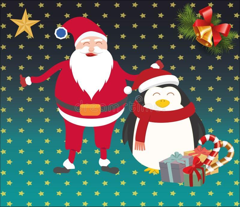 圣诞节圣诞老人和企鹅 免版税库存照片