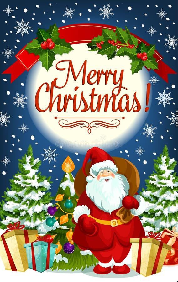 圣诞节圣诞老人和新年礼物贺卡  库存例证