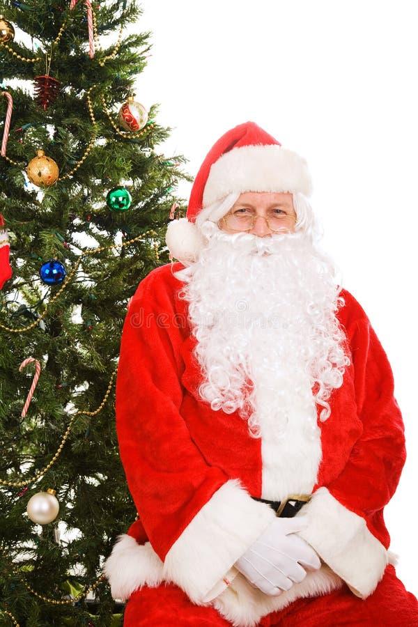 圣诞节圣诞老人坐的结构树下 免版税图库摄影