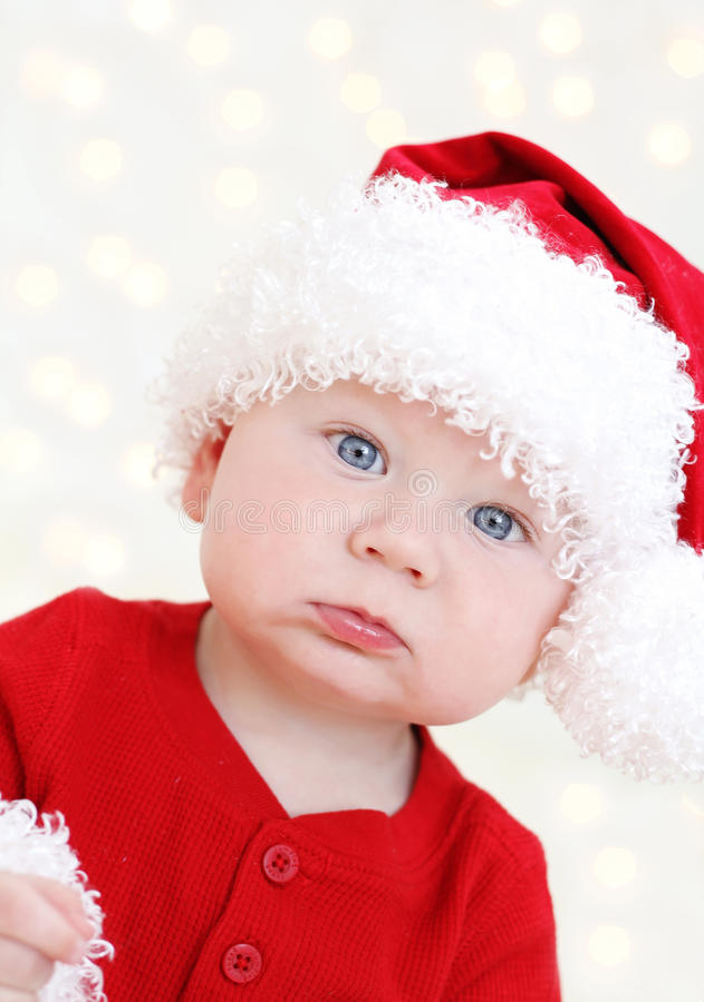 圣诞节圣诞老人婴孩 库存图片