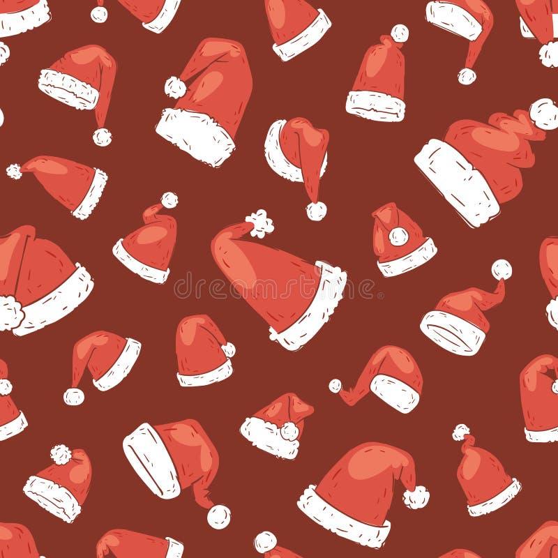 圣诞节圣诞老人帽子传染媒介noel被隔绝的例证新年基督徒Xmas党设计装饰帽子 库存例证