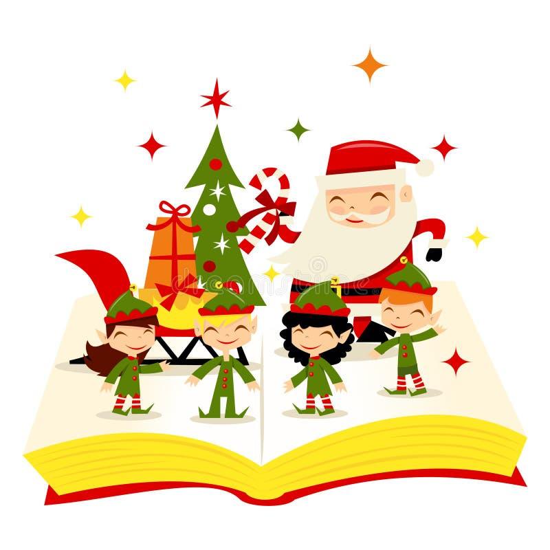 圣诞节圣诞老人矮子故事书 向量例证