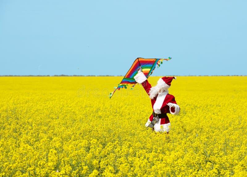 圣诞节圣诞老人项目扔在开花的黄色领域的一只风筝 免版税库存图片