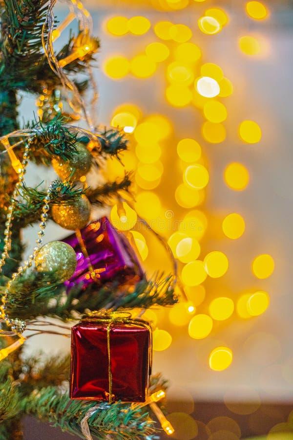 圣诞节圣诞节的bokeh光 免版税库存图片