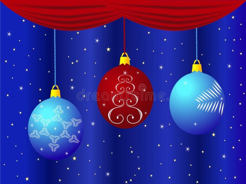 圣诞节在与帷幕和星的蓝色背景戏弄 库存例证