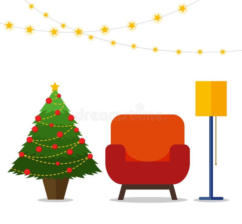 圣诞节在五颜六色的动画片平的样式的室内部 圣诞树,装饰,扶手椅子,落地灯 库存例证
