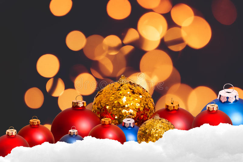 圣诞节在冬天bokeh的假日背景 库存图片