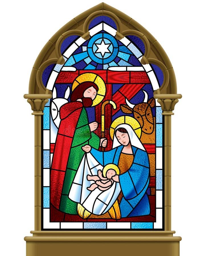 圣诞节在哥特式框架的污迹玻璃窗 向量例证