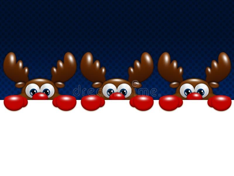 圣诞节在拿着空白的蓝色背景的动画片驯鹿 向量例证