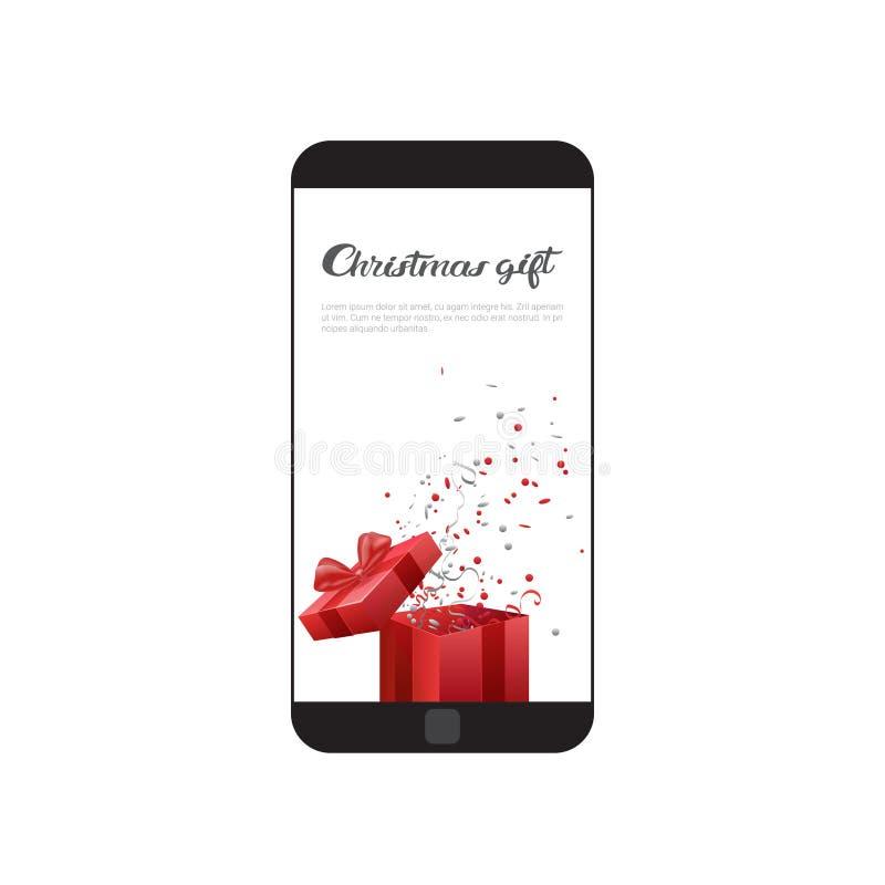 圣诞节在现代细胞聪明的电话网假日贺卡消息的礼物消息 向量例证