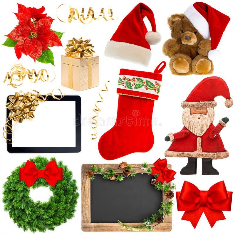 圣诞节在白色背景隔绝的装饰对象 库存图片