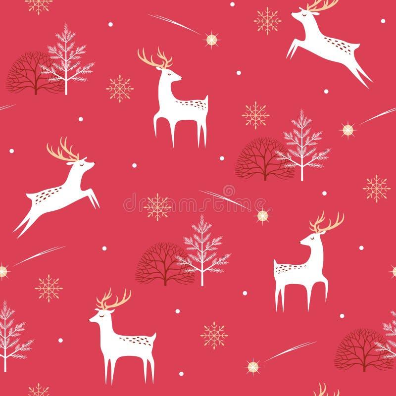 圣诞节在红色背景的鹿样式 皇族释放例证