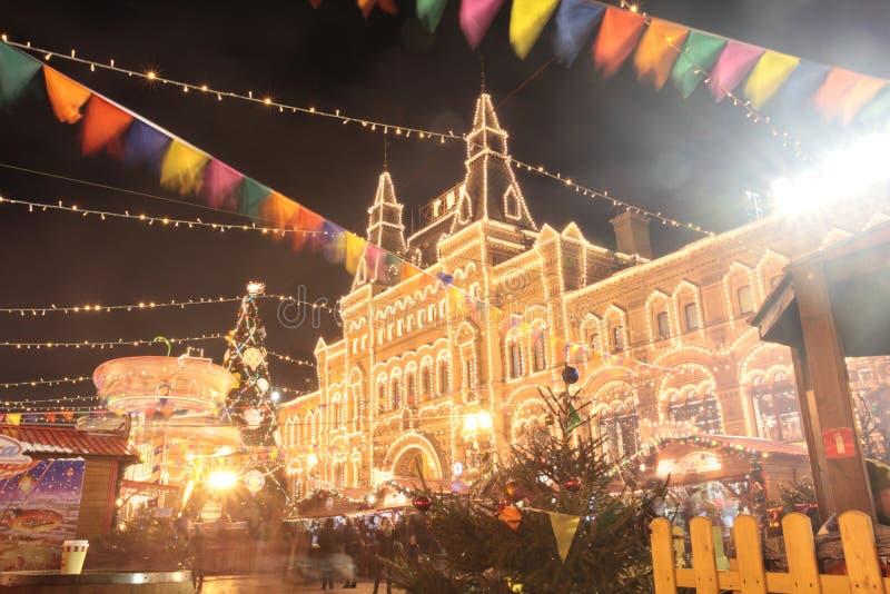 圣诞节在胶百货商店,红场,莫斯科附近的新年市场 免版税图库摄影