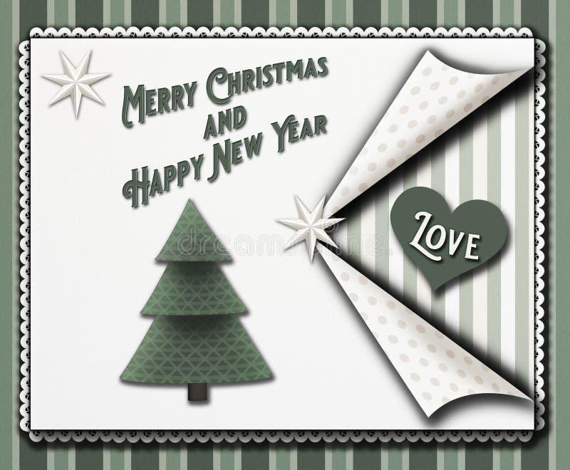 圣诞节在葡萄酒scrapbooking的样式的贺卡与星和christmastree和词圣诞快乐和愉快新 向量例证